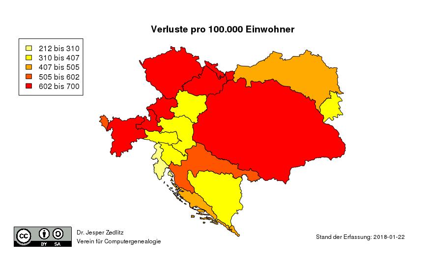 Karte Verluste pro 100.000 Einwohner